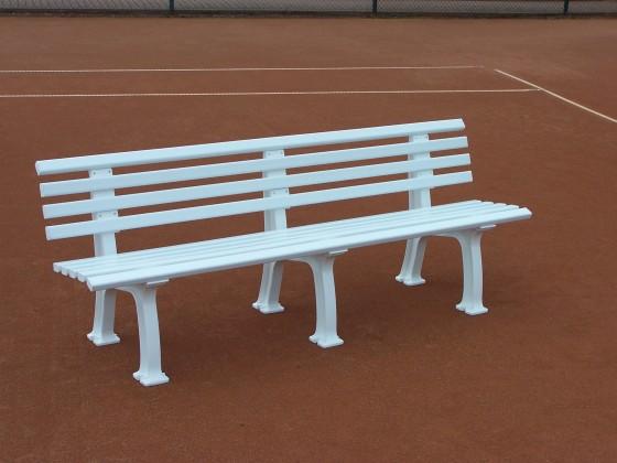 Tennisplatz - Sitzbank mit Lehne Länge: 2,00 m - Farbe: weiß