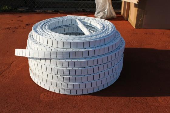 IDEALA II - Tennislinie 4 + 5 cm - Weiß mit Haken L-Form