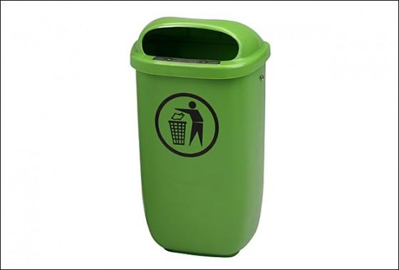 Abfallbehälter Kunststoff - grün inkl. Schlüssel + Besfestigungsteile