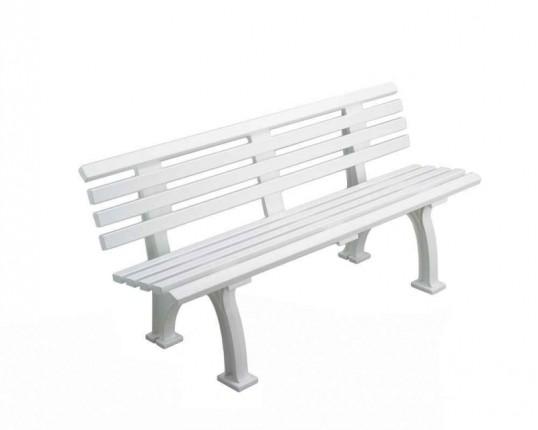 Tennisplatz - Sitzbank mit Lehne Länge: 1,50 m - Farbe: weiß