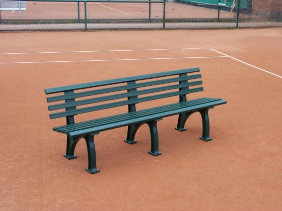 Tennisplatz - Sitzbank mit Lehne Länge: 2,00 m - Farbe: grün