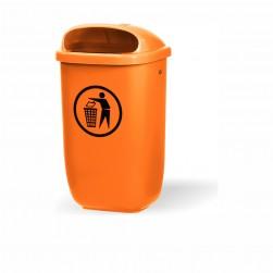 Abfallbehälter Kunststoff - orange inkl. Schlüssel + Besfestigungsteile