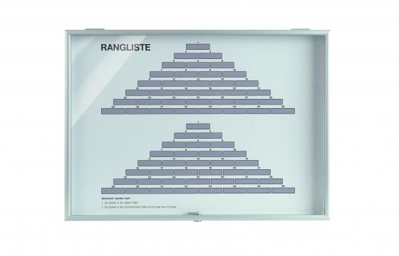 Rangliste Tannenbaumsystem - 2 Ränge Maße: 70 x 50 cm im Alukasten mit Plexiglasscheibe