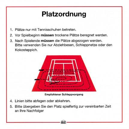 Platzordnung mit Pflegeanweisung - Schild Maße: ca. 50 x 50 cm - weiß