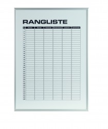 Ranglisten-Magnettafel für 6 Ränge Maße: 70 x 50 cm mit Alu-Rahmen
