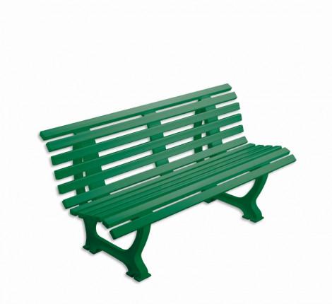 Bank mit Lehne - geschwungen Länge: 1,50 m - Farbe: grün