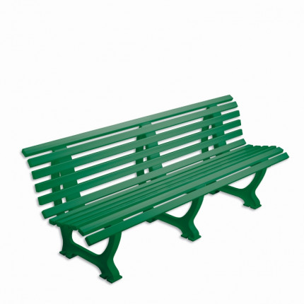 Bank mit Lehne - geschwungen Länge: 2,00 m - Farbe: grün